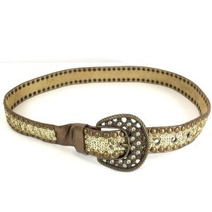 Accessories - Leather Sequin Studded Belt
